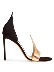 Francesco Russo Snakeskin Effect Leather And Suede Sandals Black Multi
