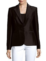 Carolina Herrera Solid Cotton And Silk Blend Jacket Black