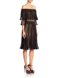 Alexander Mcqueen Off The Shoulder Pointelle Dress Black Cameo