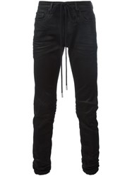 Off White Coated Denim Jeans Black