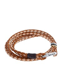 Paul Smith Braided Leather Bracelet Unisex Brown