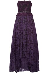 Badgley Mischka Lace And Fil Coupe Gown Purple