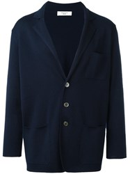 Fashion Clinic Three Button Cardigan Blue