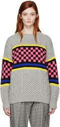 Ashley Williams Multicolor Oversized Cable Knit Sweater