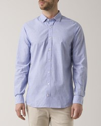 Tommy Hilfiger Blue End On End Embroidered Dots Shirt