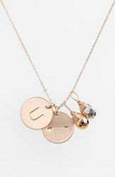 Women's Nashelle Pyrite Initial And Arrow 14K Gold Fill Disc Necklace Gold Pyrite Silver Pyrite U