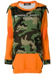 Jeremy Scott Camouflage Hooded Dress Yellow And Orange