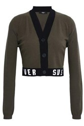 Versus By Versace Cropped Jacquard Knit Cardigan Army Green