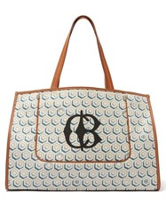 Connolly Leather Trimmed Printed Canvas Tote Bag Blue Multi