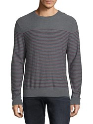 Saks Fifth Avenue Black Striped Merino Wool Sweater Stone Grey