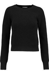 Helmut Lang Cropped Ribbed Wool And Cashmere Blend Sweater Black