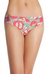 Women's Halogen 'No Show' Scalloped Thong Coral Sugar Floral Print