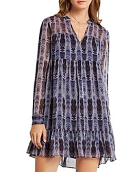 Bcbgeneration Feather Print Babydoll Dress Granite Combo