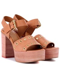 See By Chloe Leather Plateau Sandals Brown