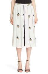 Victoria Beckham Women's Crepe Satin Print Pleated Midi Skirt