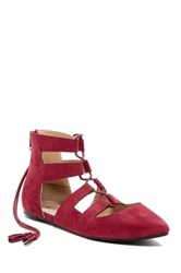 Restricted Java Lace Up Flat Red