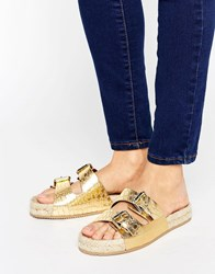 Aldo Buckle Sandal With Espadrille Sole Gold