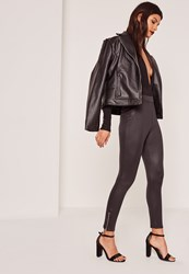 Missguided Black Zip Ankle Faux Leather Leggings