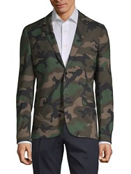 Valentino Camouflage Print Sportcoat Army