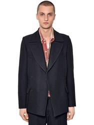 Ann Demeulemeester Double Breasted Wool And Silk Peacoat Black
