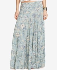 Denim And Supply Ralph Lauren Floral Print Tiered Maxi Skirt Navy