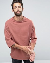 Only And Sons Sweat With Crew Neck 3 4 Sleeve Detail Dusty Cedar Pink
