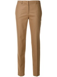 Fabiana Filippi Slim Fit Trousers Cotton Polyester Spandex Elastane Wool Nude Neutrals