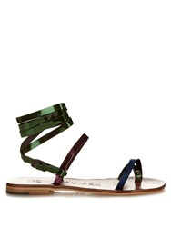 Alvaro Anna Metallic Leather Sandals Bronze Multi