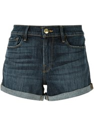 Frame Turn Up Cuffs Denim Shorts Blue