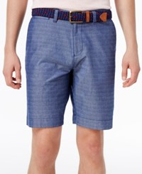 Tommy Hilfiger Men's Chambray Printed Shorts Blue Indigo