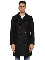 Dsquared Double Breasted Wool Blend Peacoat Black