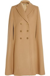 Alexander Mcqueen Double Breasted Wool Felt Cape Camel