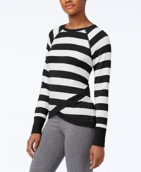Tommy Hilfiger Crossover Hem Striped Top Only At Macy's Black