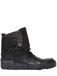 A.S.98 Embossed Leather High Top Sneakers