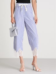 Moandco. Striped Cotton Trousers Blue And White