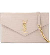 Saint Laurent Monogram Crocodile Embossed Leather Wallet On Chain Rose Antic Gold Hw