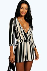 Boohoo Striped Relaxed Self Belt Playsuit Multi