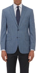 Barneys New York Plaid Two Button Sportcoat Blue