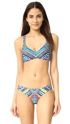 Red Carter Beach Babe Strappy French Bra Top Azure Multi