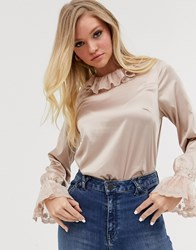 Neon Rose Vintage Blouse With Lace Collar And Cuffs Cream