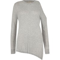 River Island Womens Silver Knit One Cold Shoulder Top