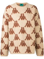 Kappa Larry Logo Instarsia Sweater Nude And Neutrals