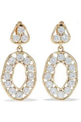 Kenneth Jay Lane Gold Tone Crystal Clip Earrings Gold