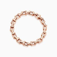 Tiffany And Co. T Chain Bracelet In 18K Rose Gold Large. No Gemstone