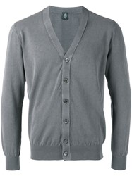 Eleventy V Neck Cardigan Men Cotton L Grey