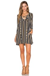 Lucca Couture Lace Up Bell Sleeved Shift Dress Black And White