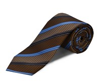 Double Two Silk Stripe Tie Brown