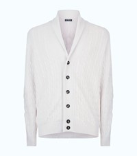 Harrods Cable Shawl Collar Cardigan White