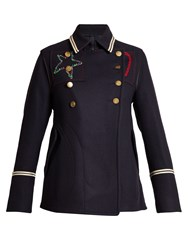 Valentino Embroidered Double Breasted Pea Coat Navy Multi