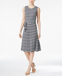 Charter Club Printed Fit And Flare Dress Only At Macy's Deep Black Iconice